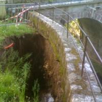 Glissement de terrain à l'entrée du sanctuaire
